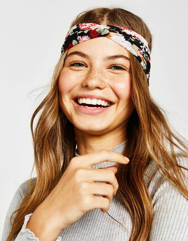 Mesh floral print turban headband