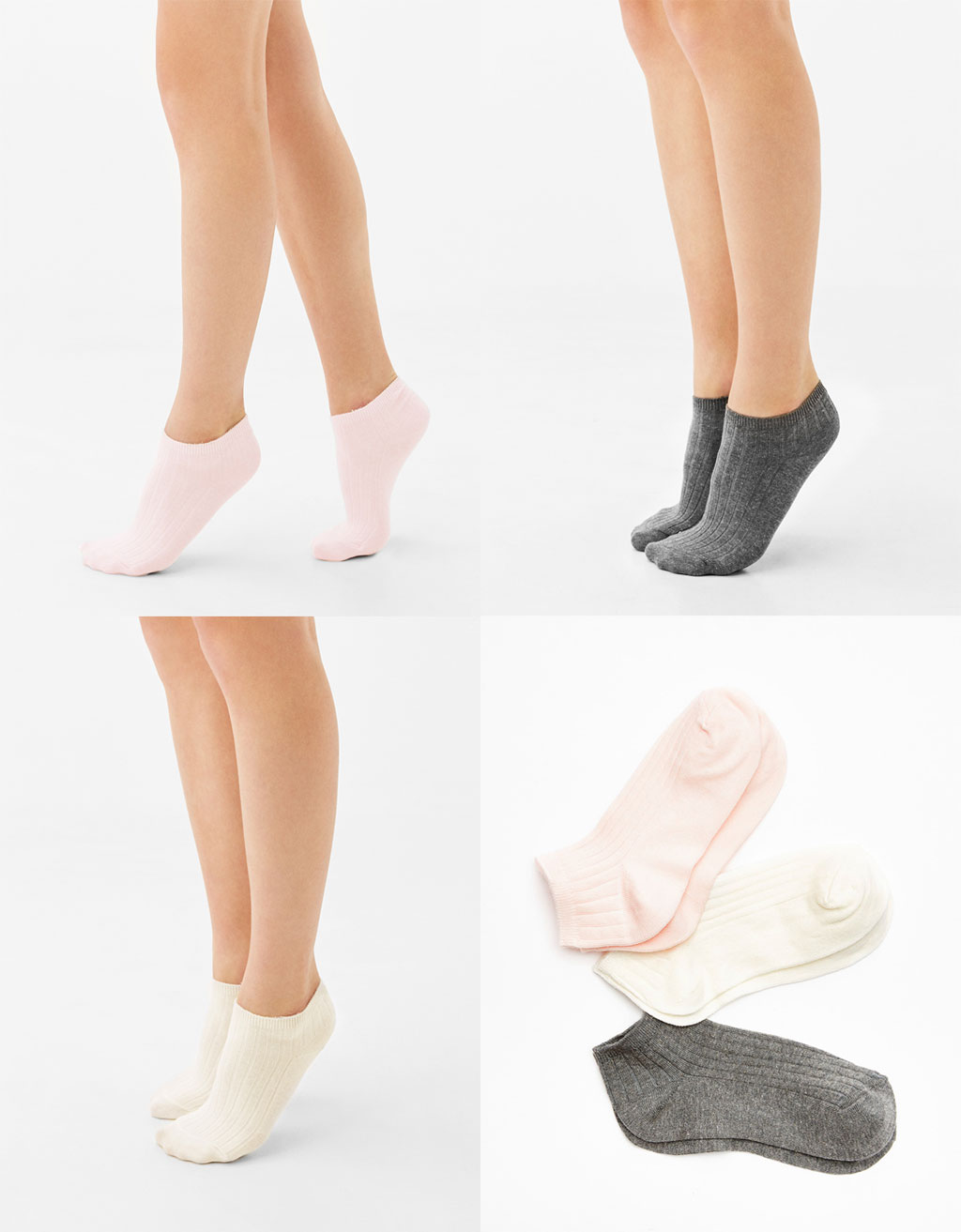 Set of 3 ribbed ankle socks