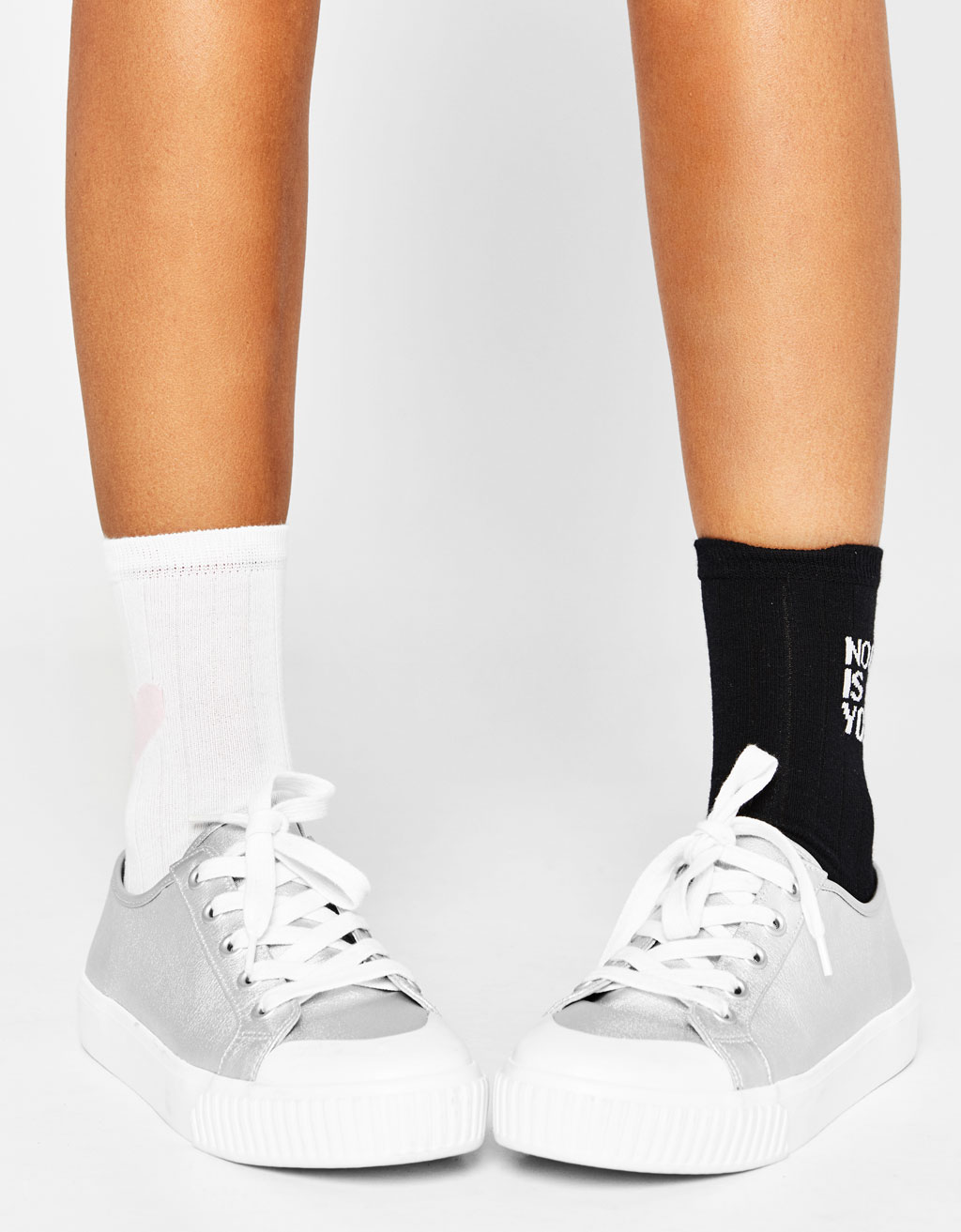 Set of 2 pairs of socks with slogan