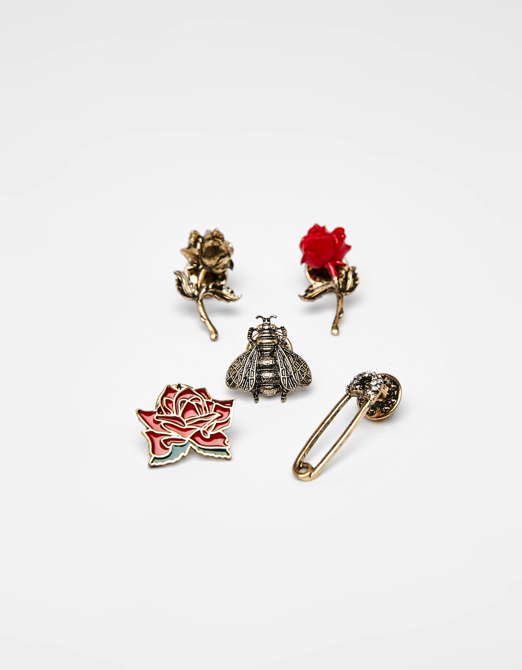 Set of 5 rose pins