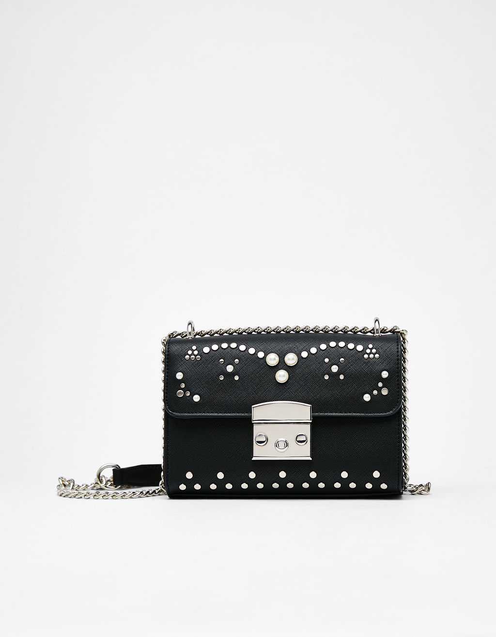 Saffiano handbag embellished with faux pearls