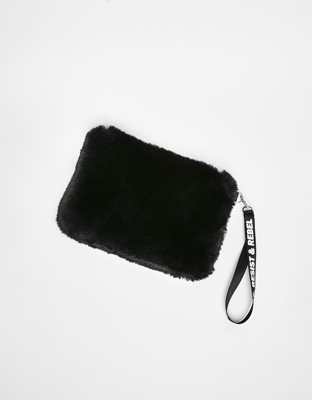 Faux fur clutch with slogan print strap