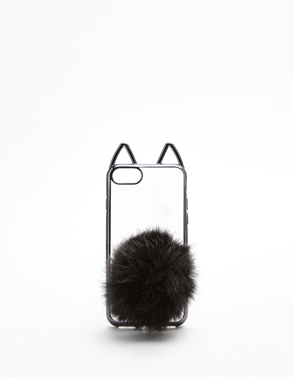 Transparent cat-shaped iPhone 7 case with pompom