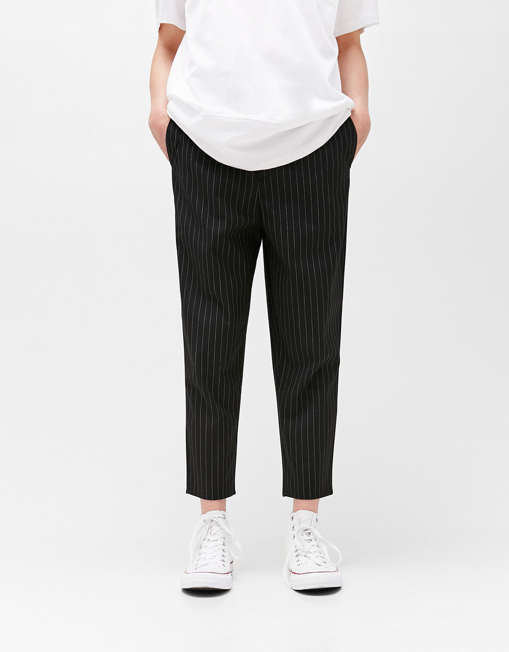 Pinstripe trousers with darts detail
