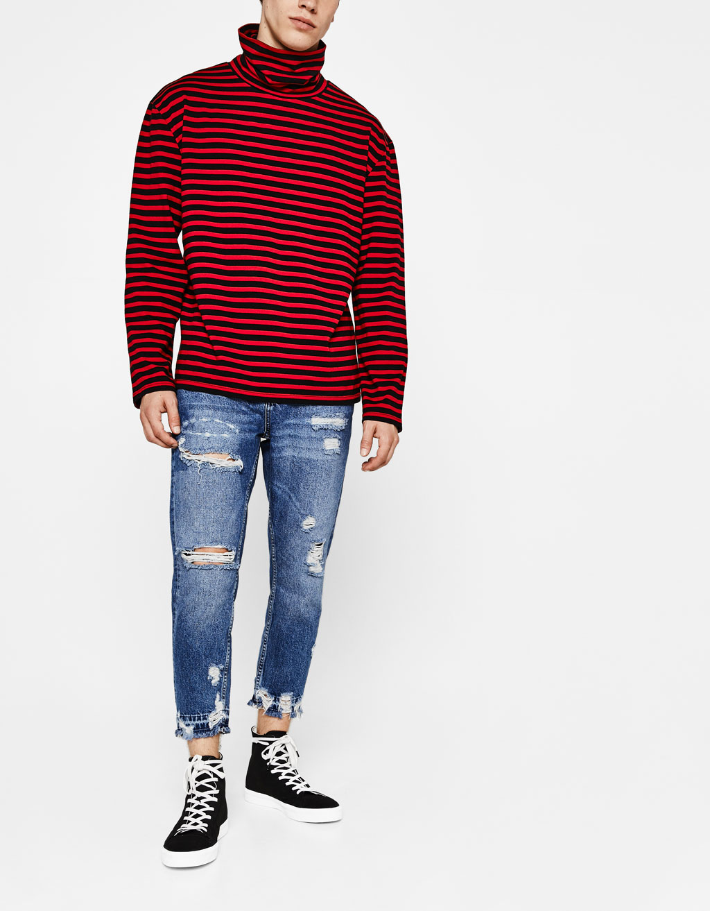 Cropped slim fit jeans with rips