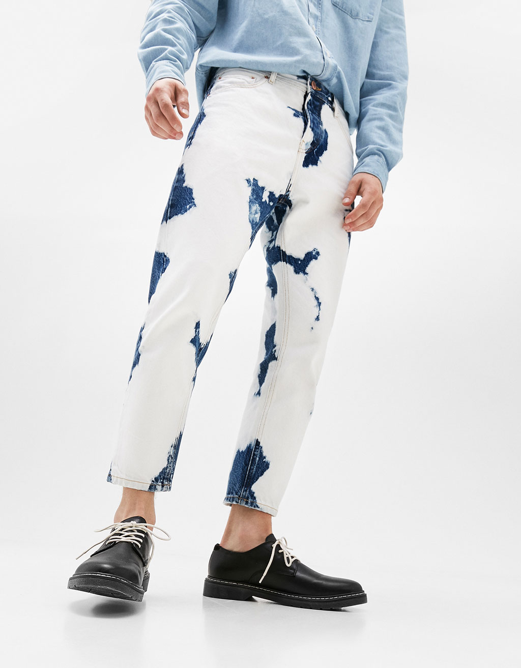 Cropped slim fit jeans with stained wash