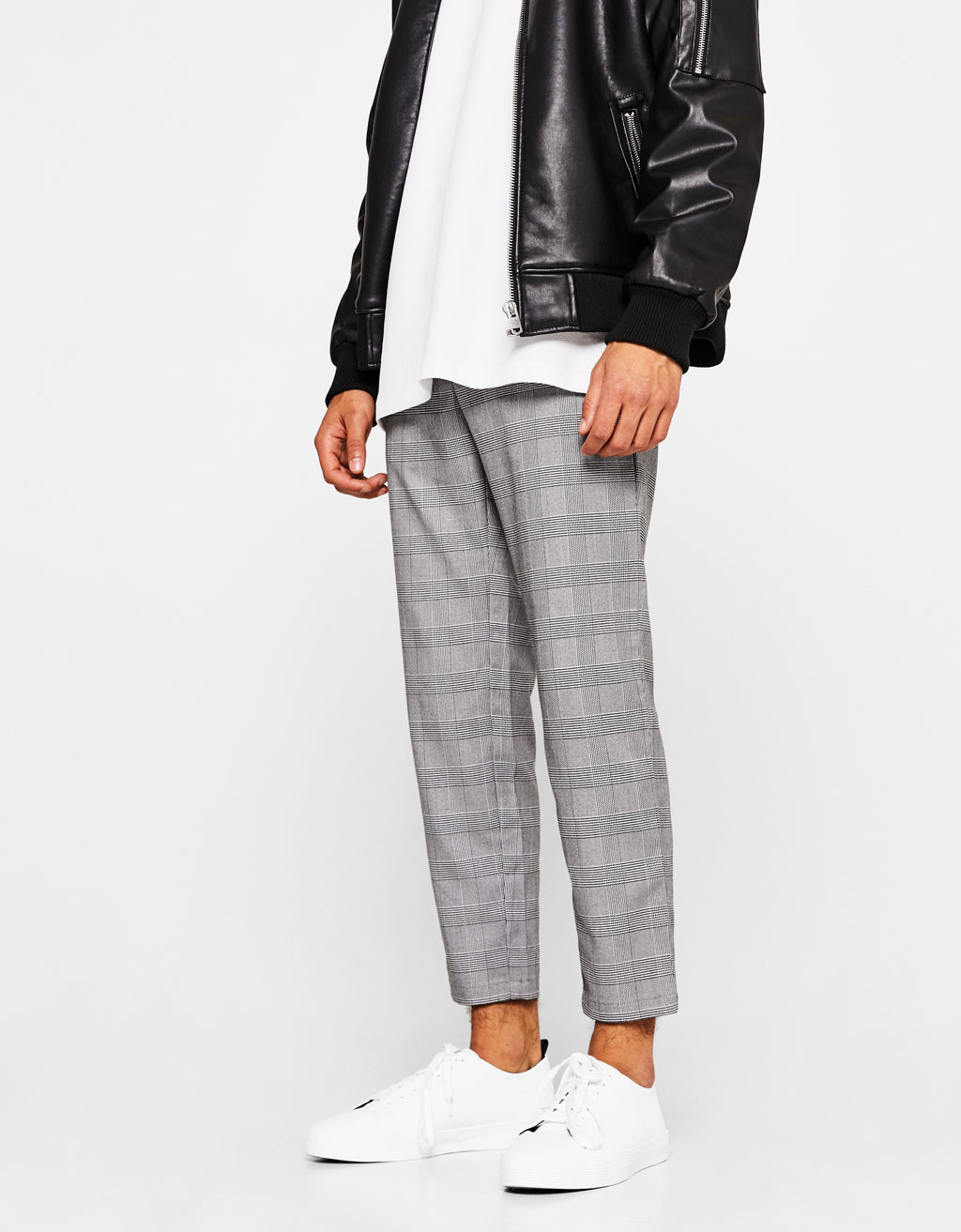 Cropped slim fit checked trousers
