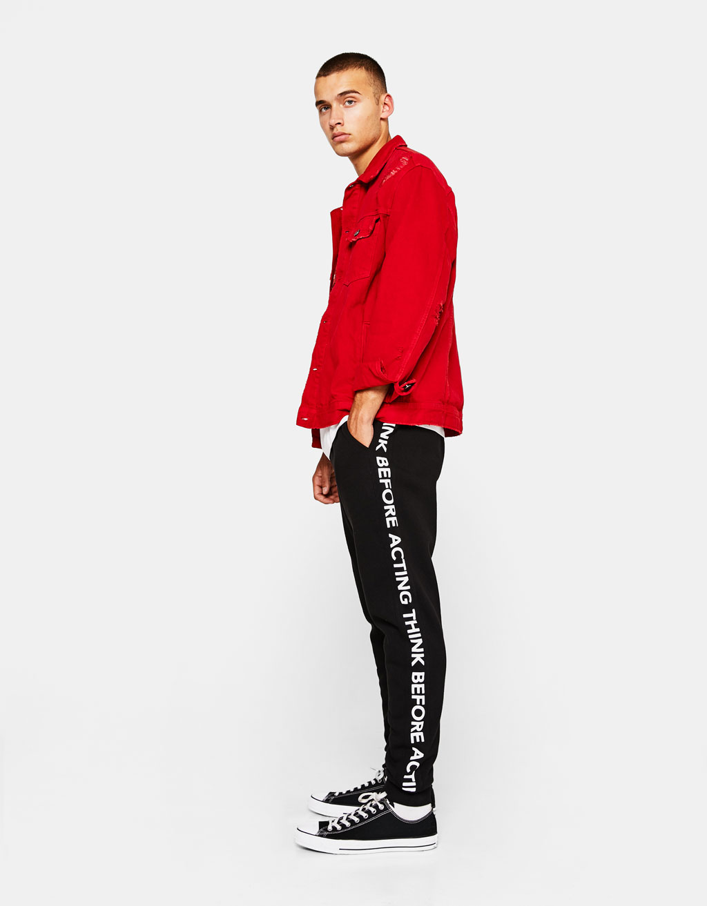 Plush trousers with side slogan
