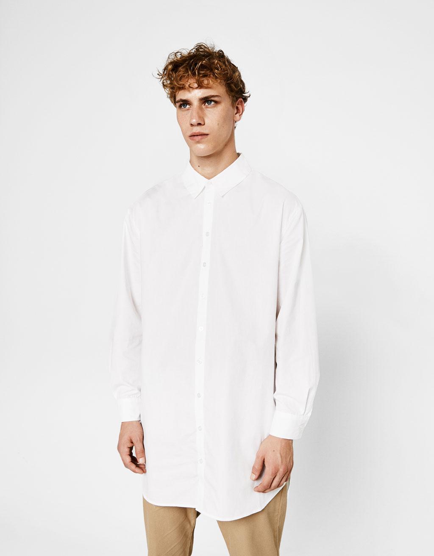 ロングポプリンシャツ