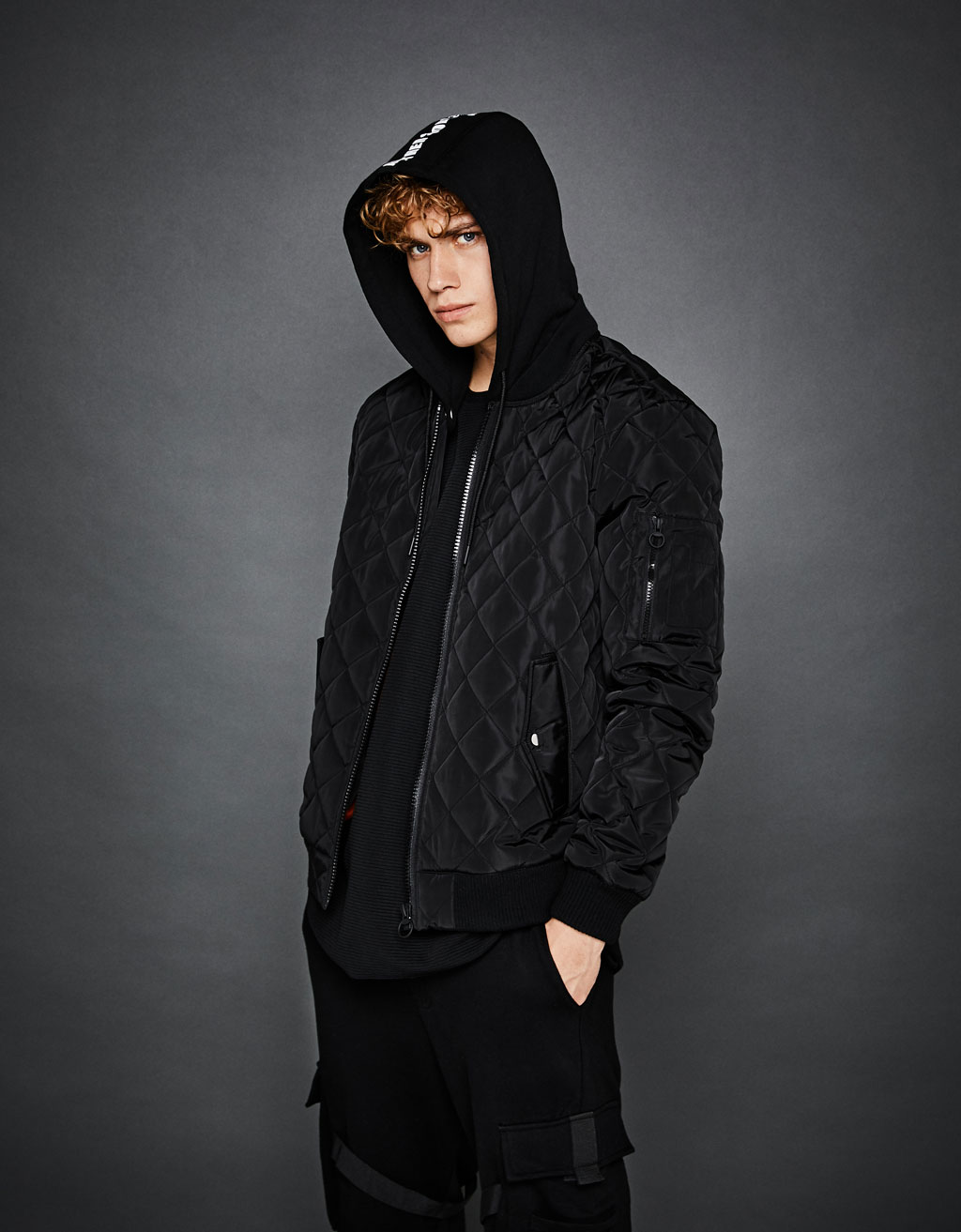 Quilted plush jersey jacket