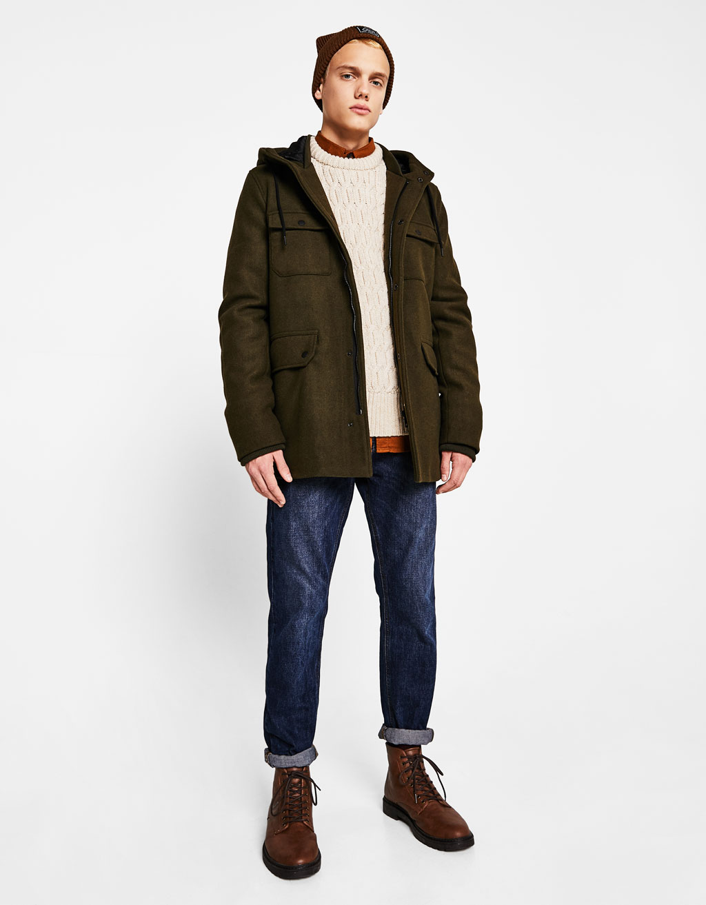 Parka-style woolly fabric jacket