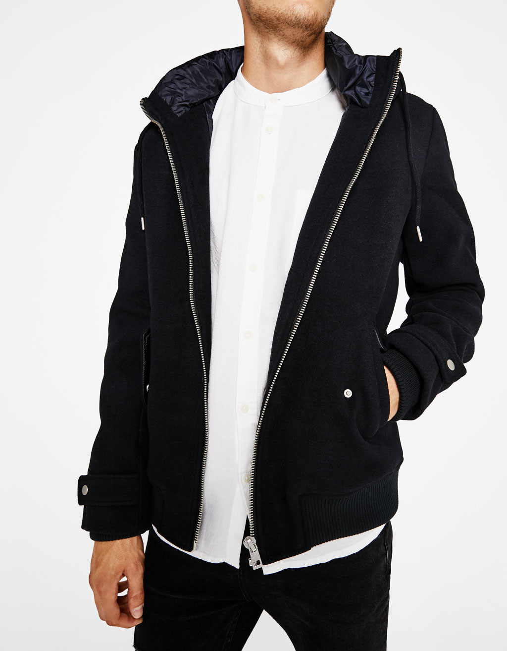 Hooded woolly fabric jacket