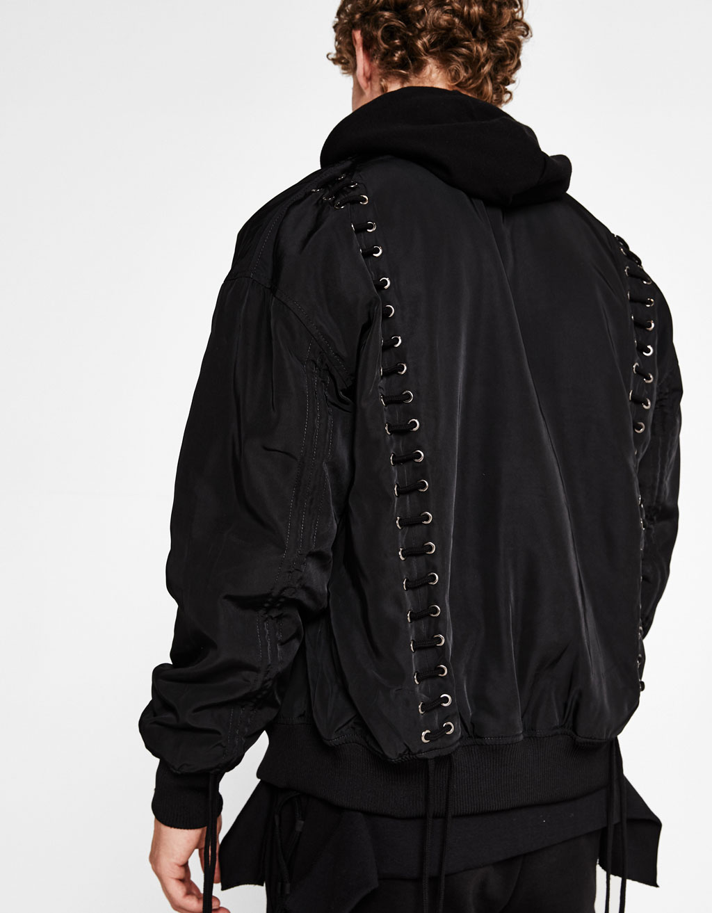 Bomber jacket with laces
