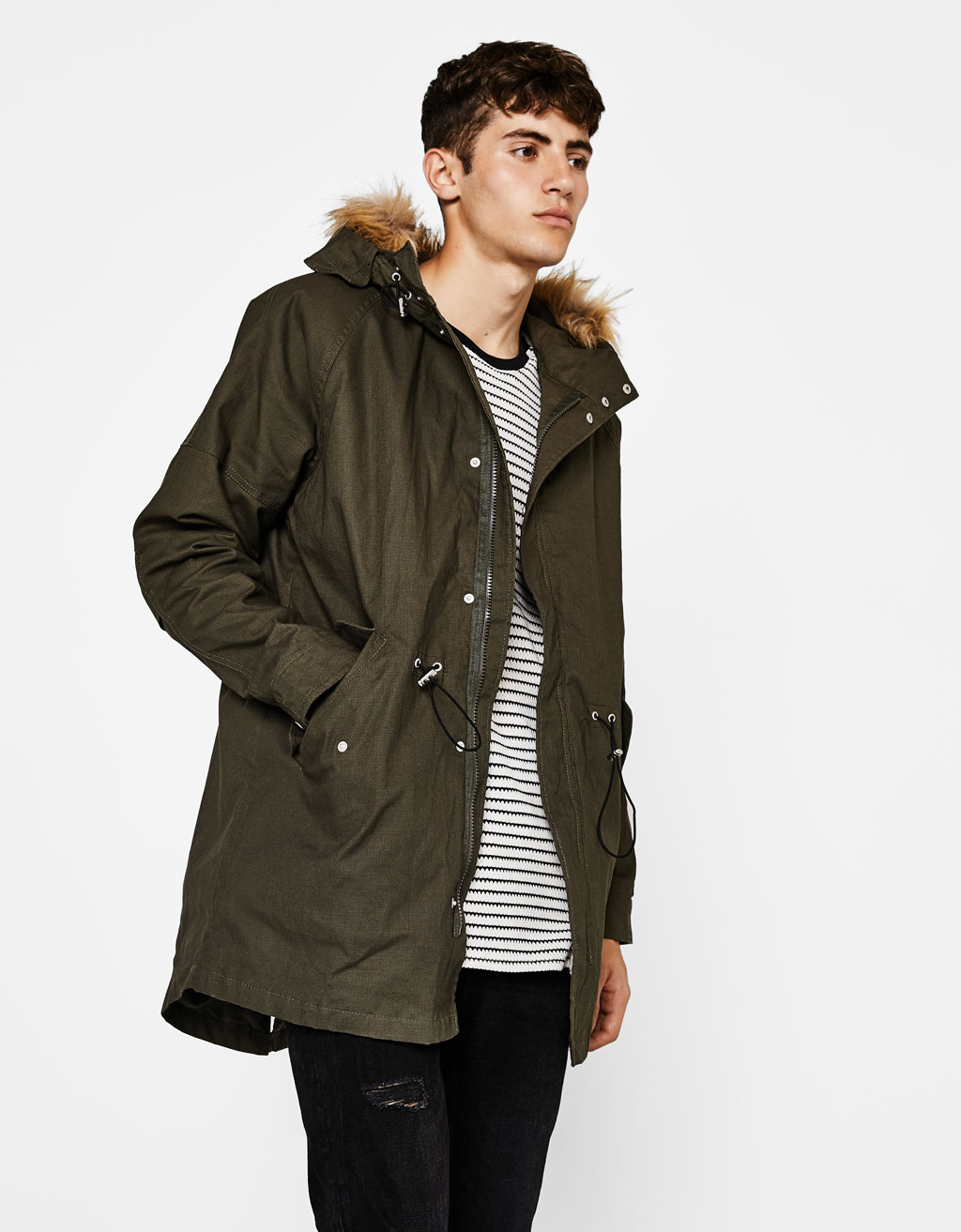 Parka with fleece lining