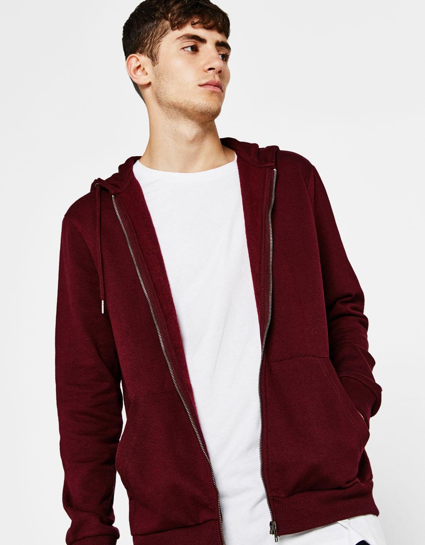Plush jersey jacket with hood