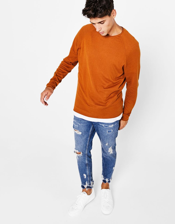 Melierter Pullover mit Rundausschnitt