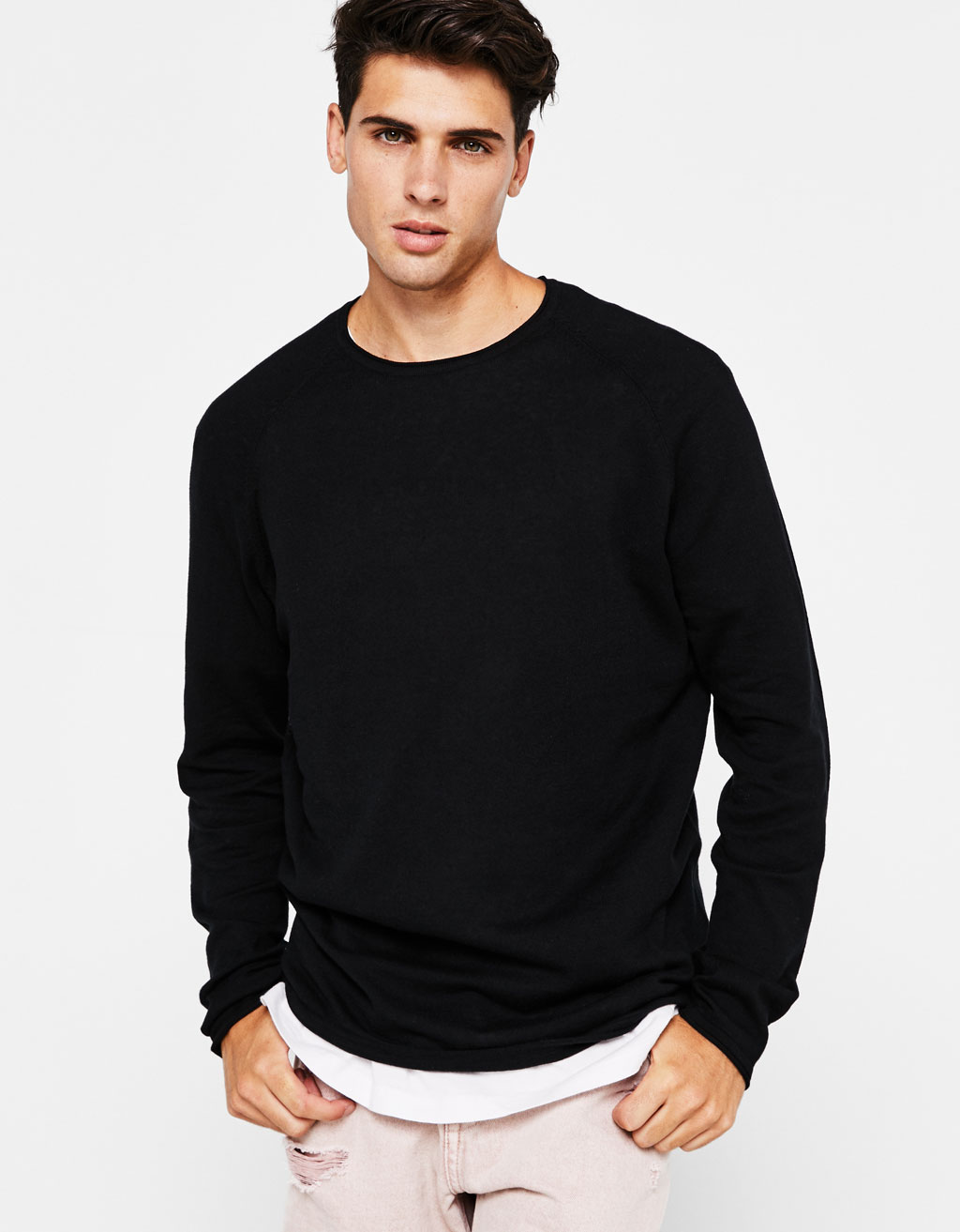 Flecked round neck sweater