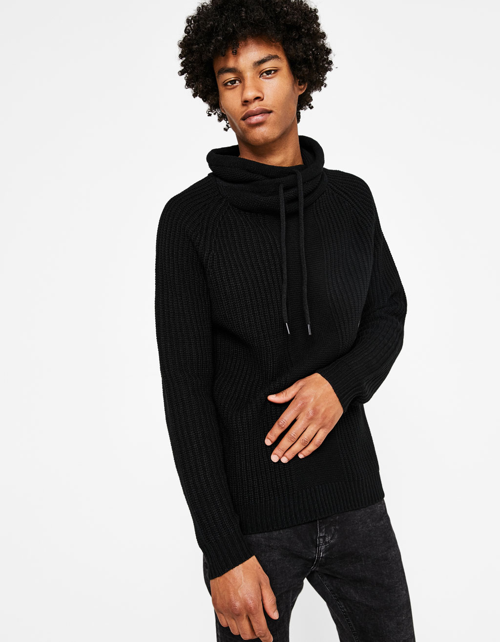 Knit sweater with wrapover collar