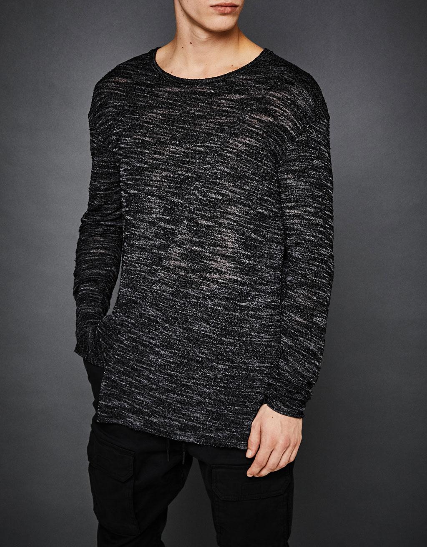 Асиметричен пуловер с цепка на подгъва
