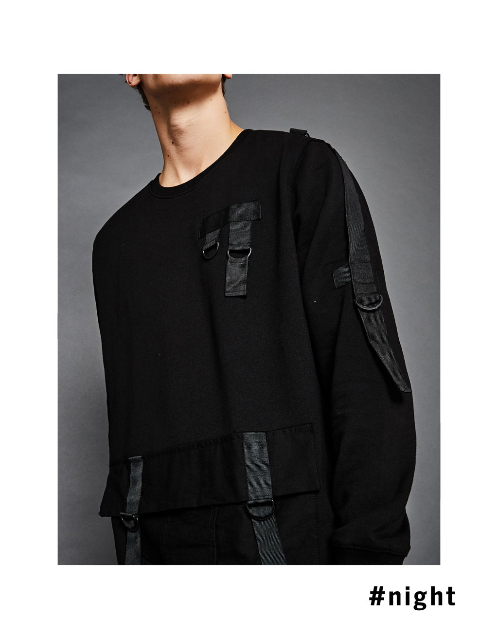 Combat sweatshirt with straps