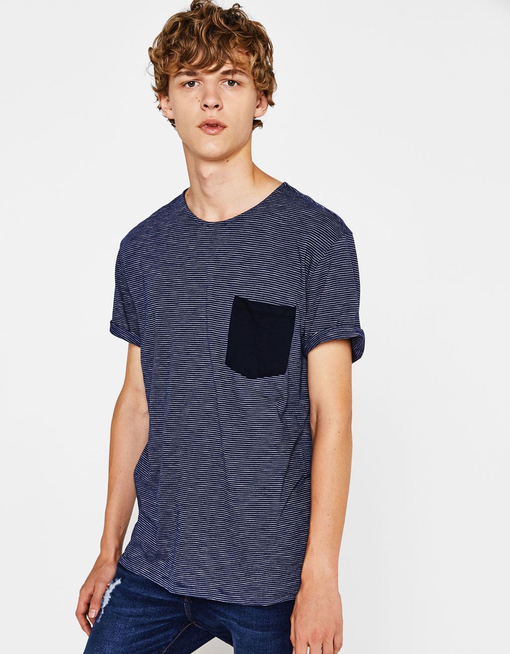 Thin-stripe T-shirt with a pocket