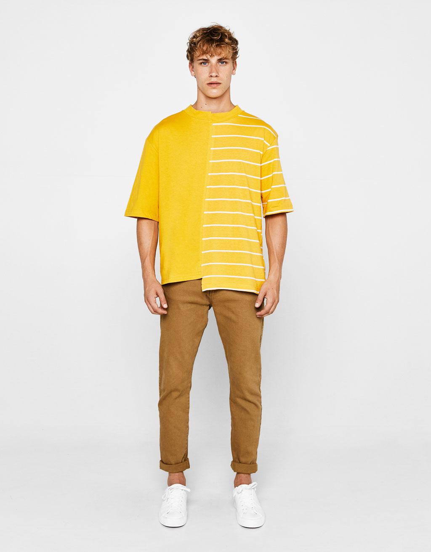 비대칭 스트라이프 티셔츠