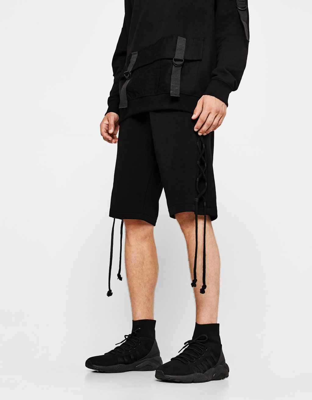 Plush jersey bermuda shorts with side cords