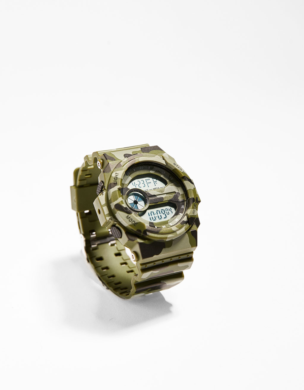 Camouflage print digital watch