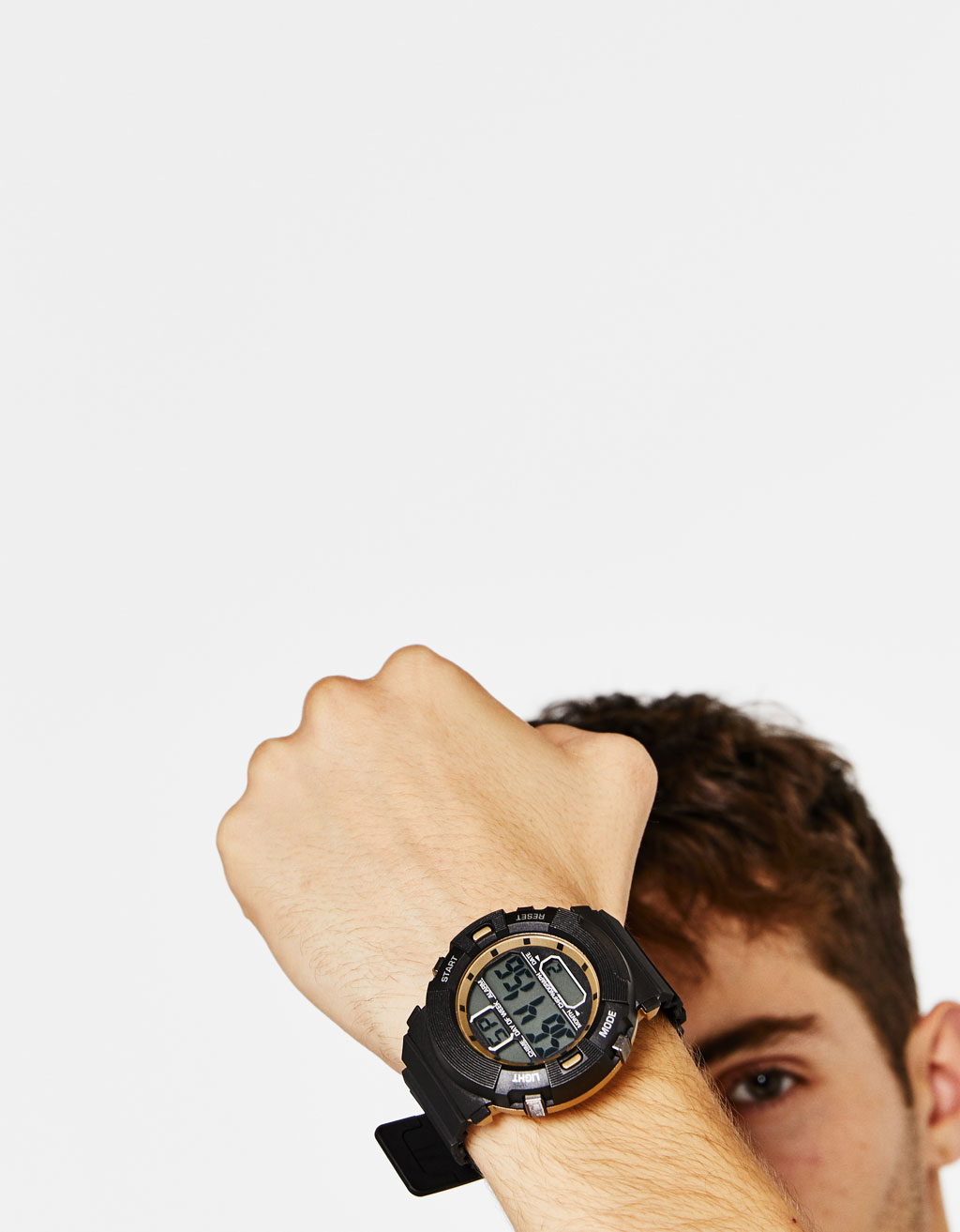 Digital watch with round face