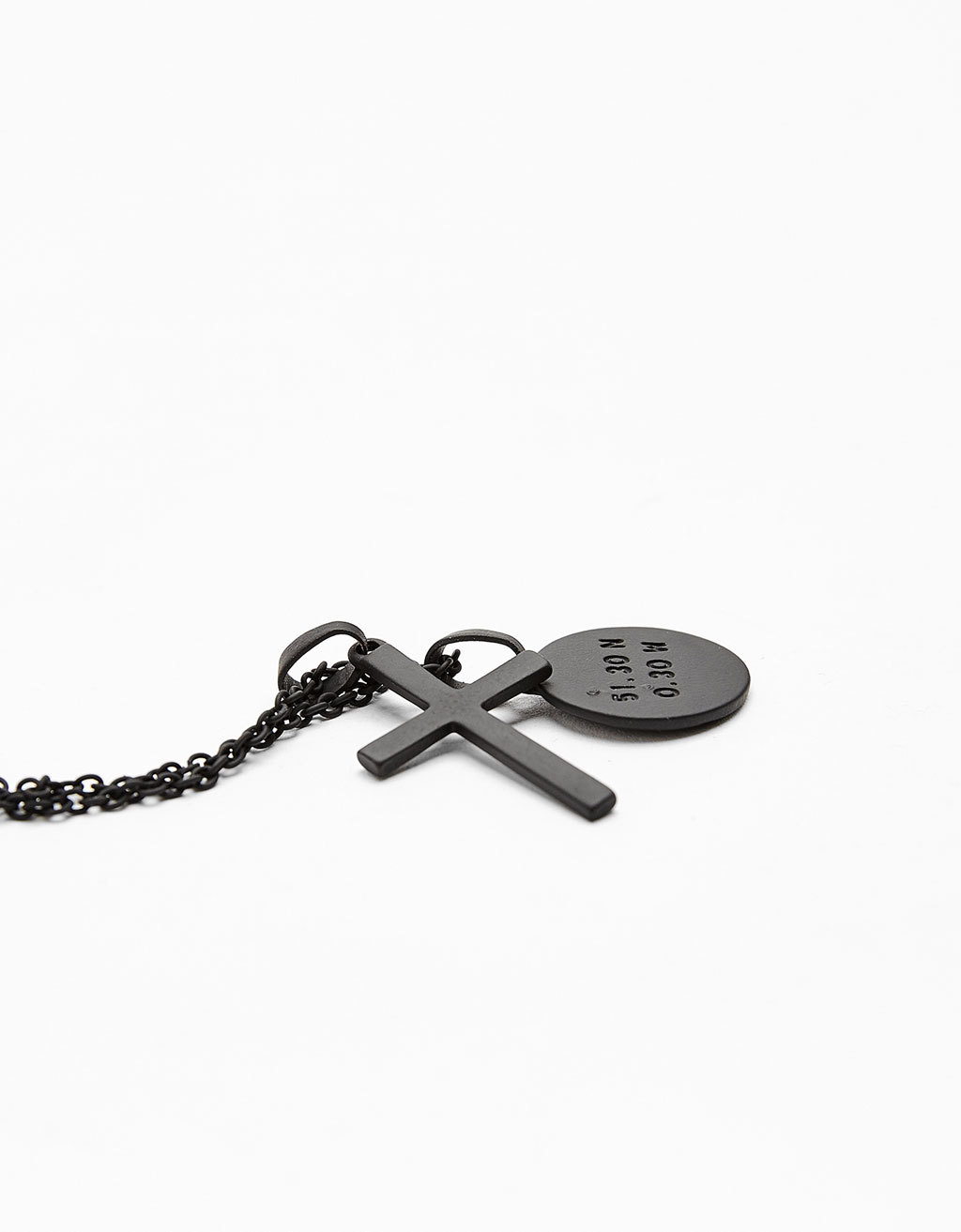 Coin and cross pendant necklace
