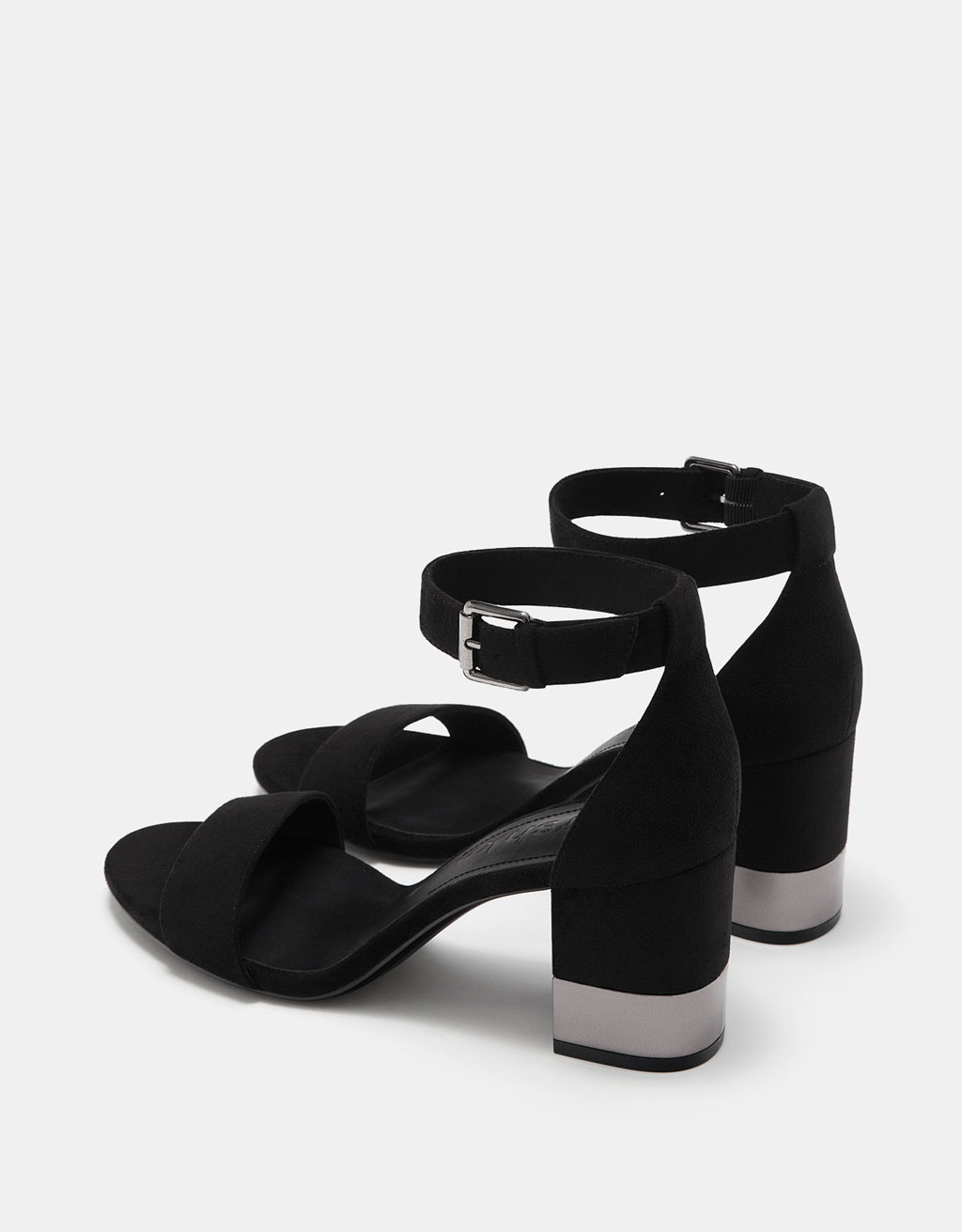 Slides with ankle strap and metallic mid heels