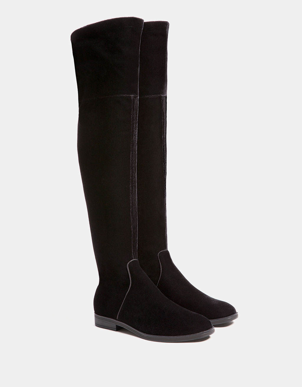 Flat elastic velvet over-the-knee boots