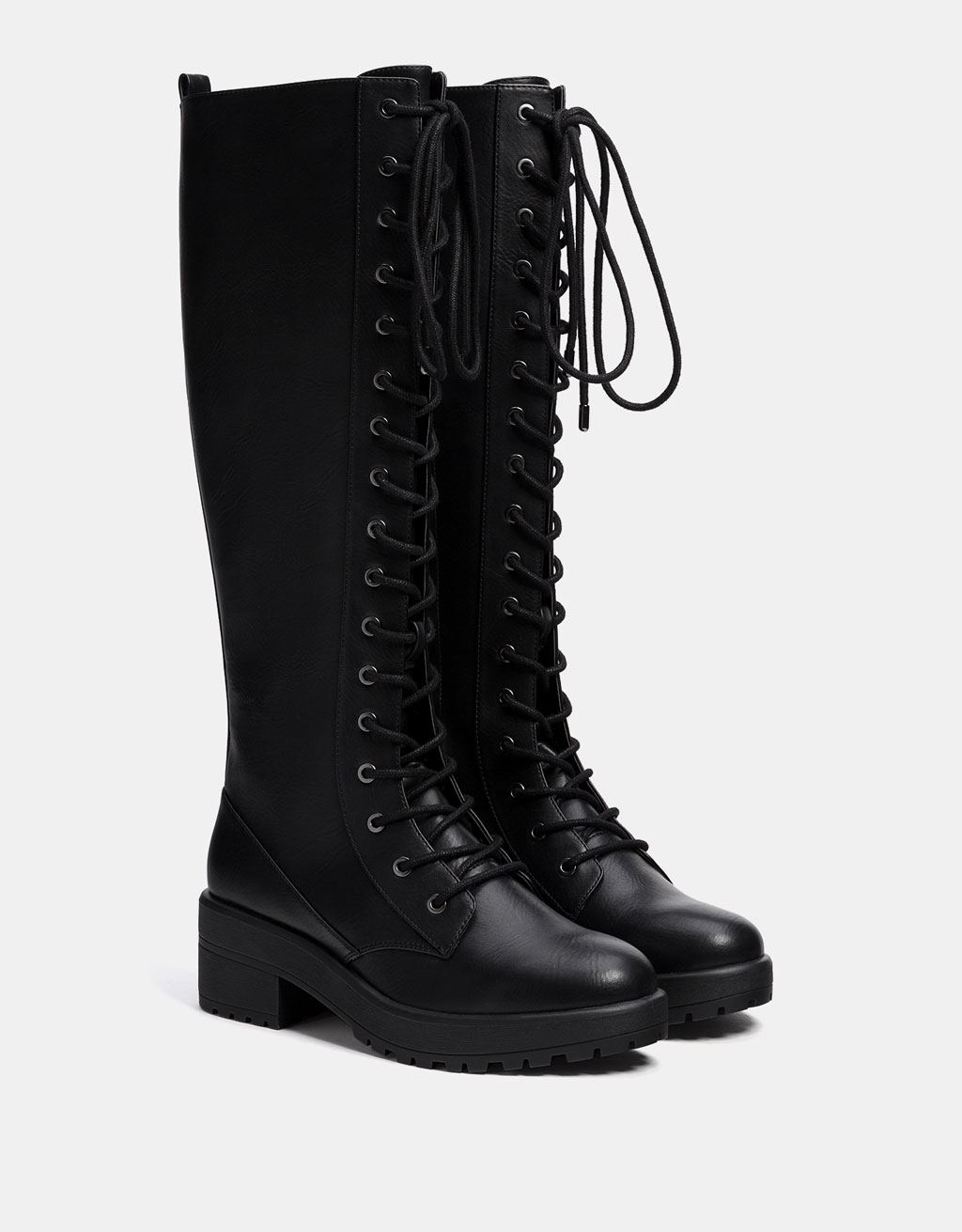 Lace-up platform tall boots