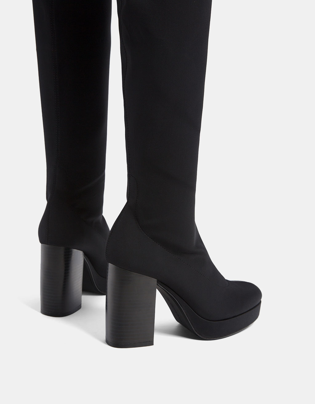 Elastic platform over-the-knee boots