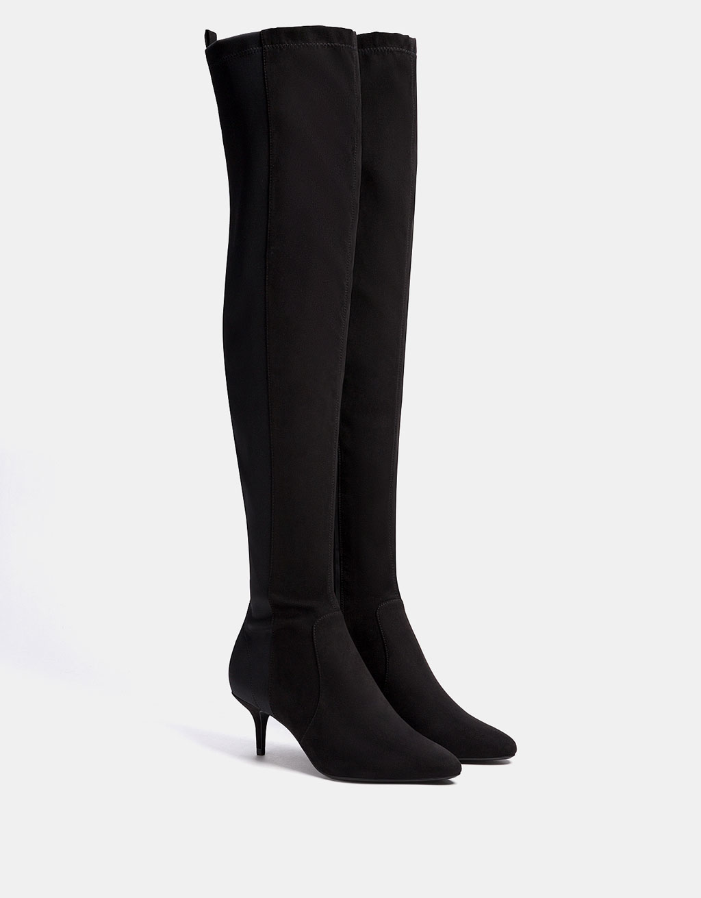 Combined knee-high boots with stiletto heels