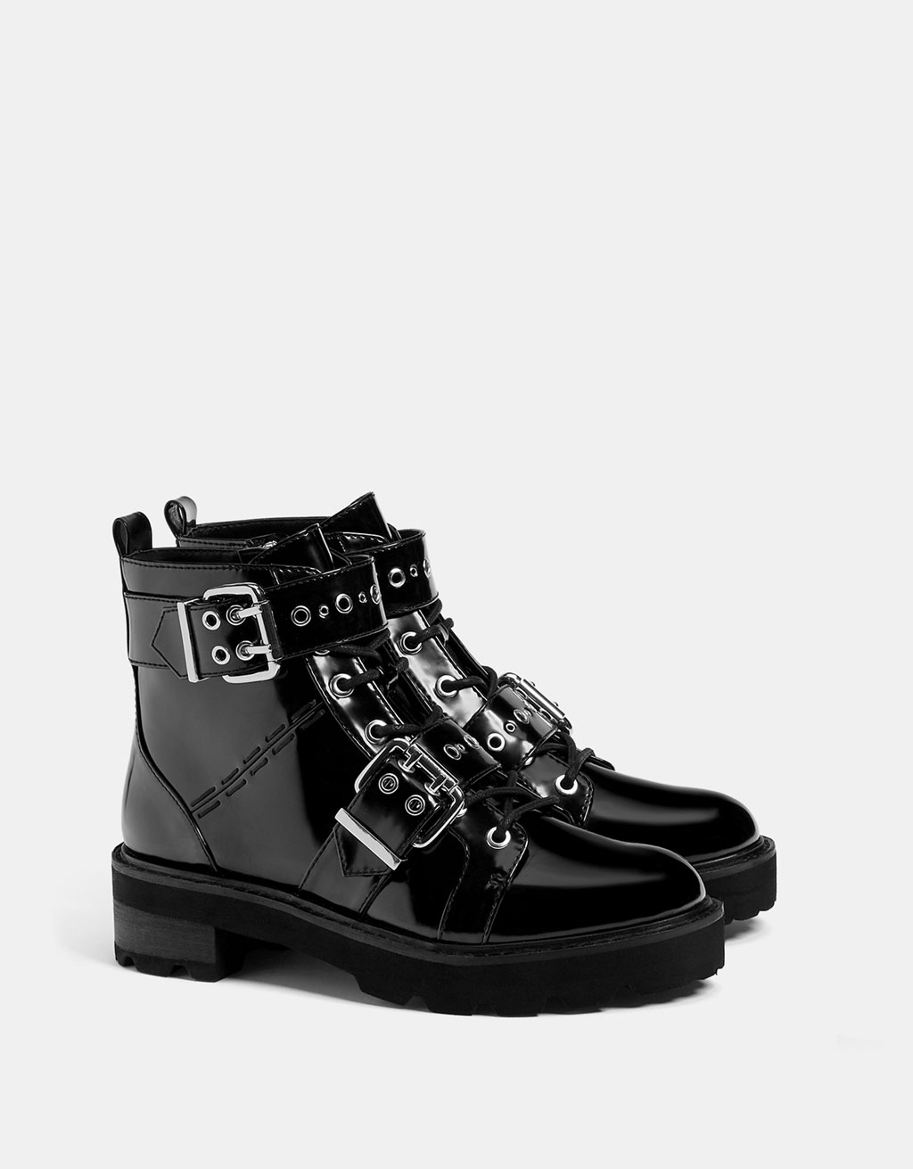 Biker ankle boots with buckles and studs