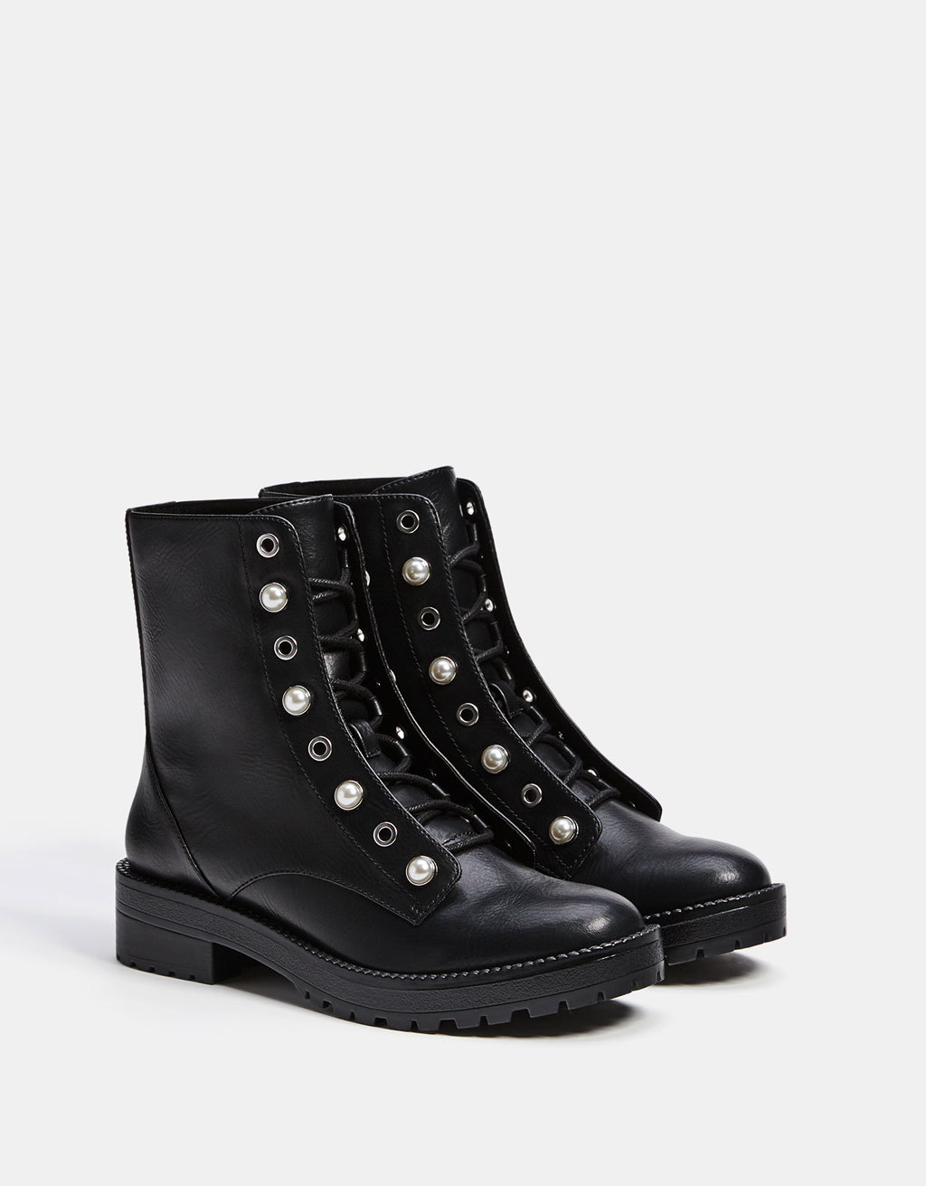 Lace-up ankle boots with faux pearls