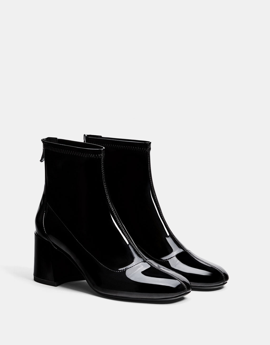Mid-heel ankle boots with a patent finish