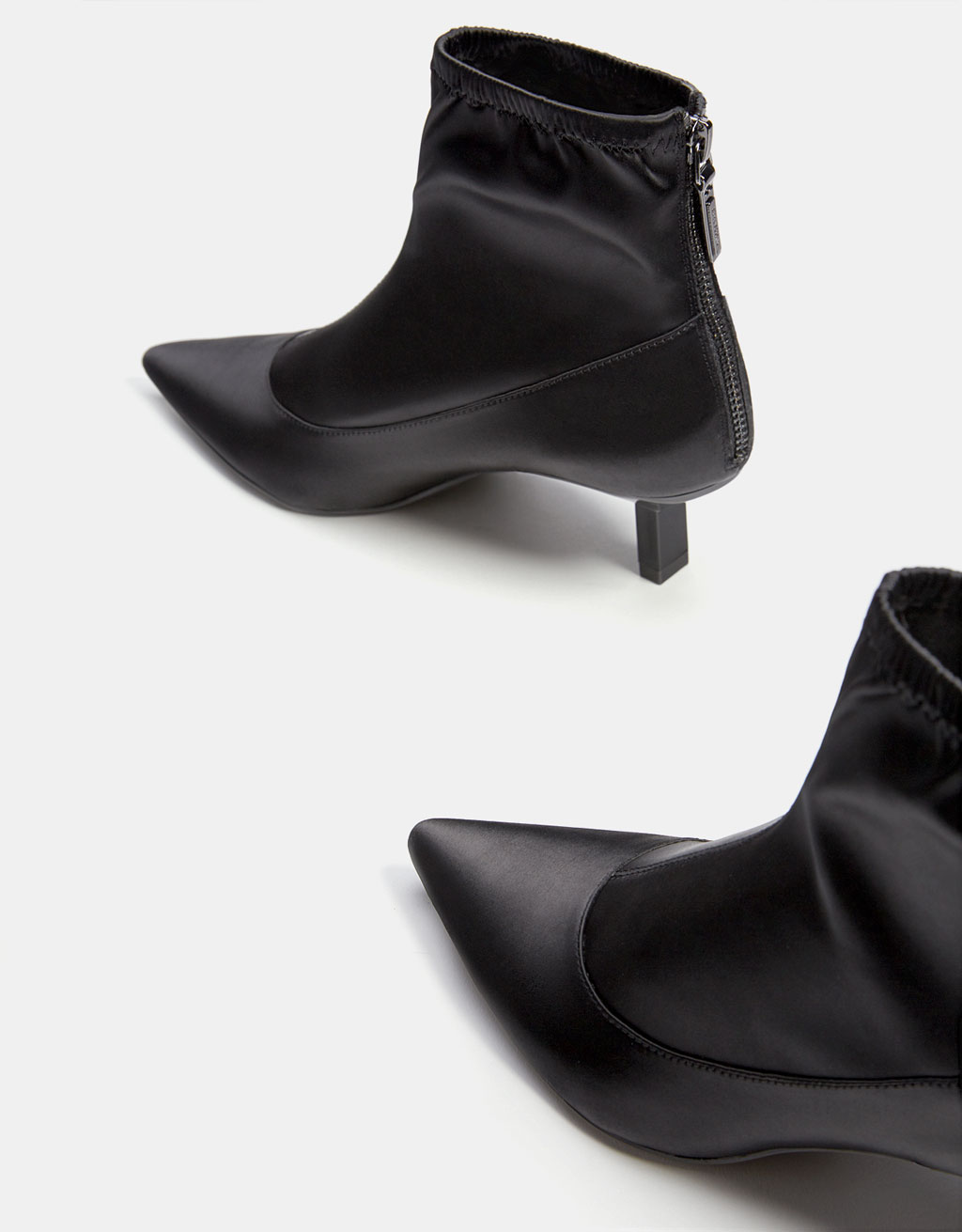 Satin mid heel ankle boots