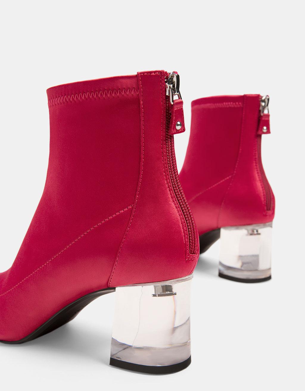 Mid heel satin ankle boots with vinyl heels