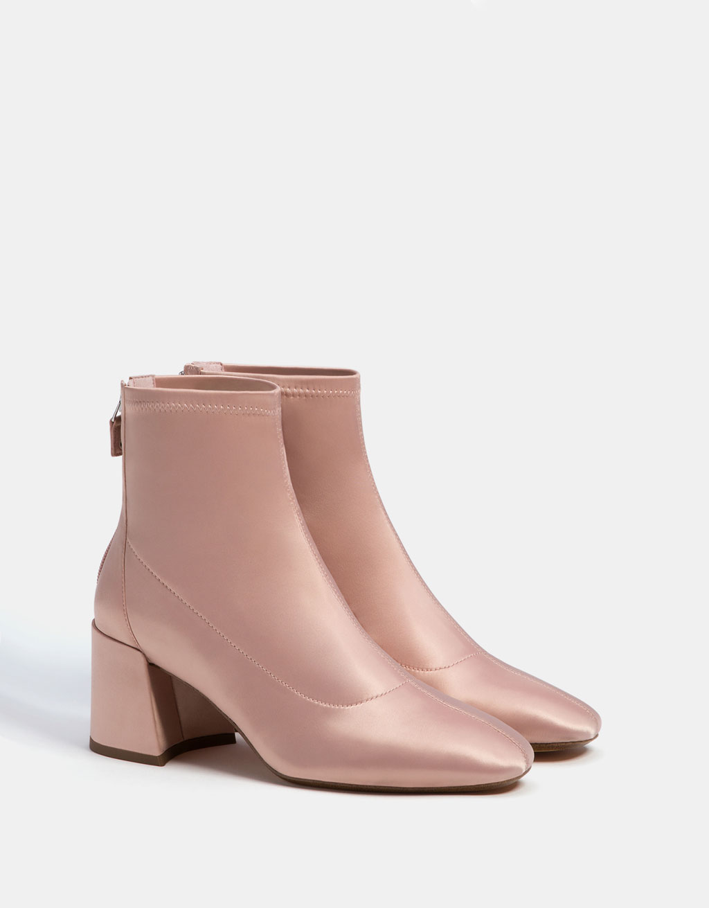 Mid-heel satin ankle boots