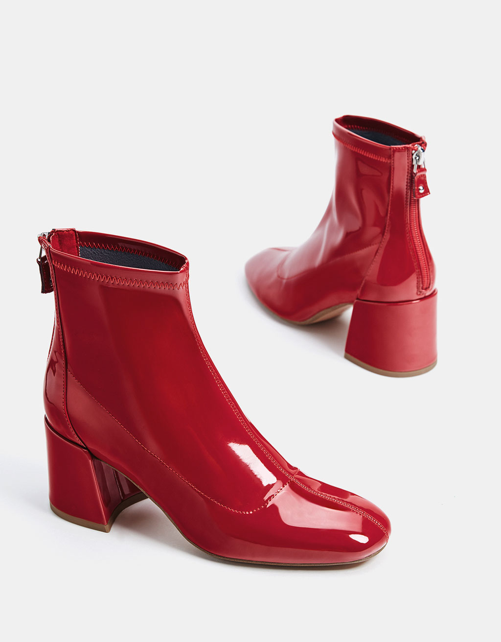 Faux patent leather mid-heel ankle boots