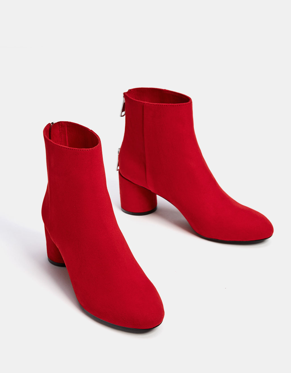 Mid heel ankle boots with zip