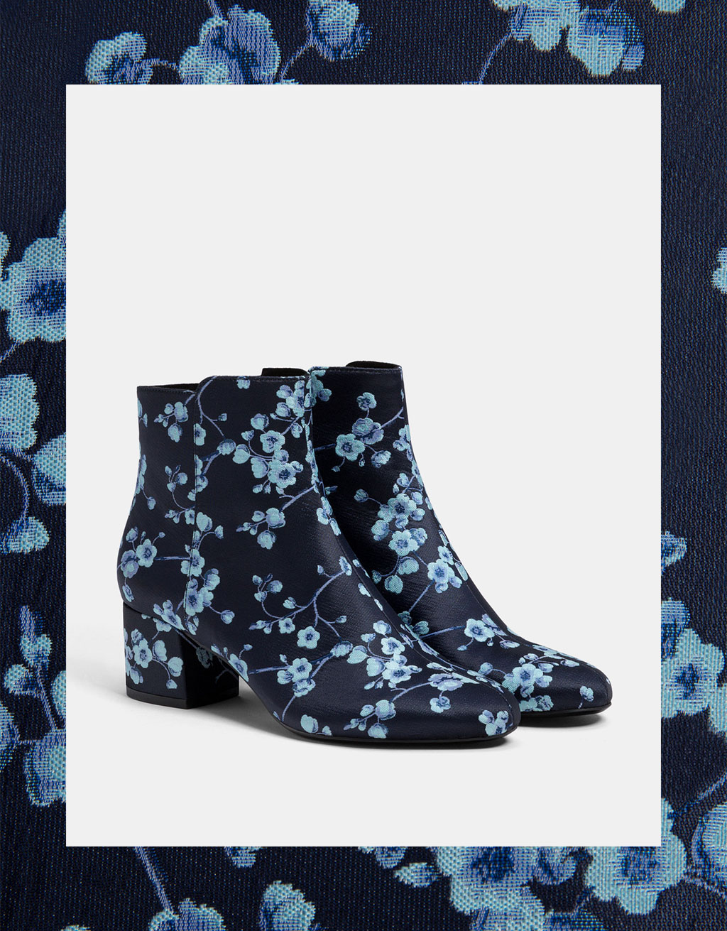 Printed mid-heel ankle boots