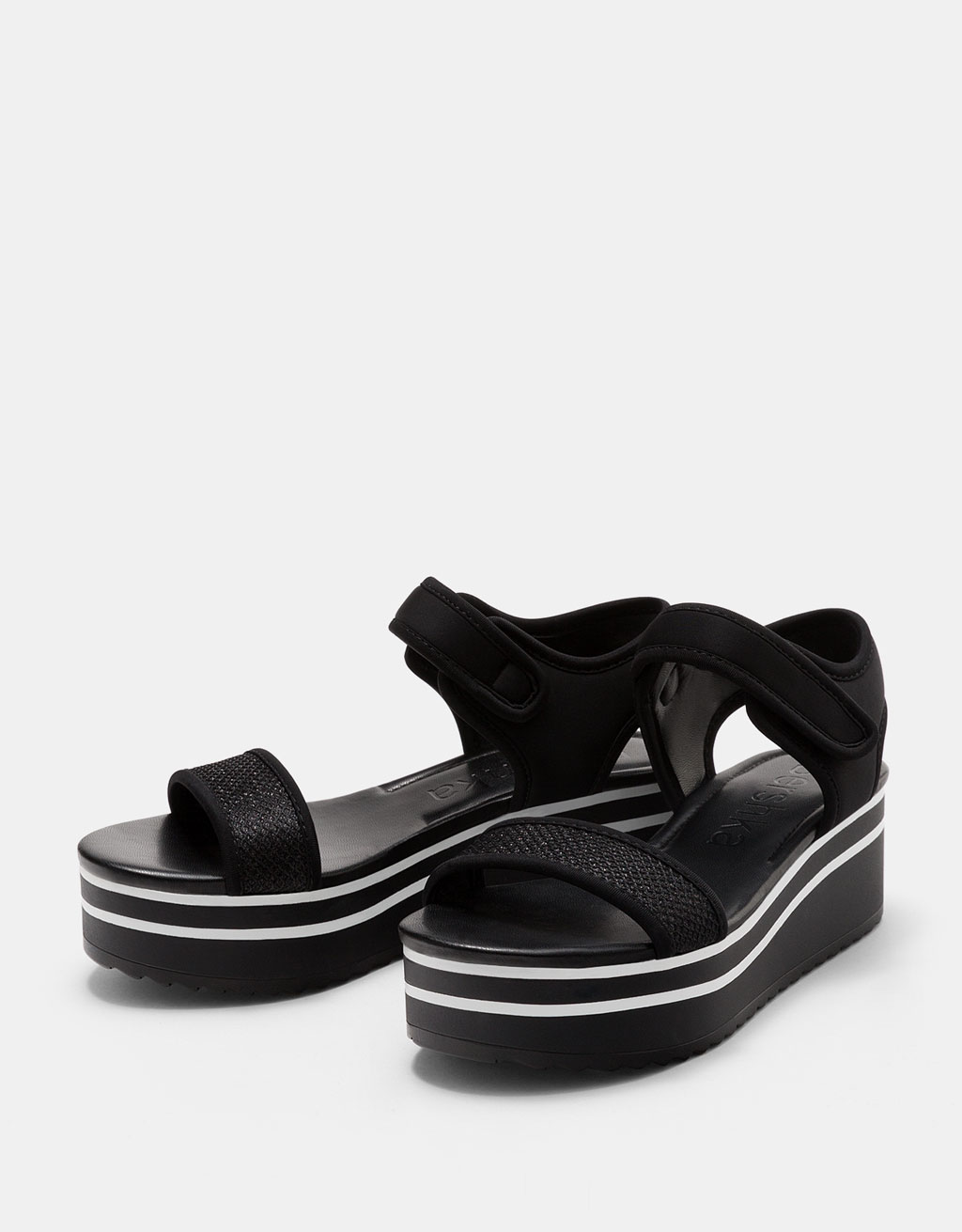 Platform sandals with shiny straps