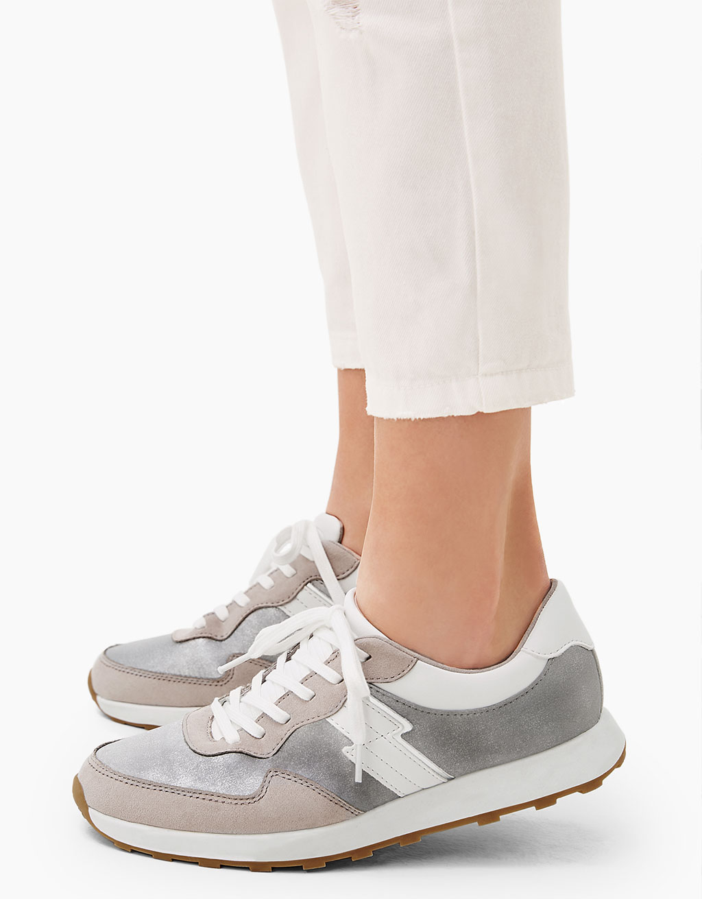Lace-up shiny combined sneakers