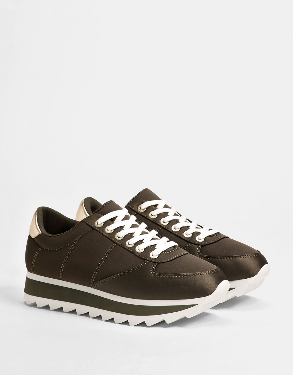 Satin sneakers with metallic detail and two-tone sole