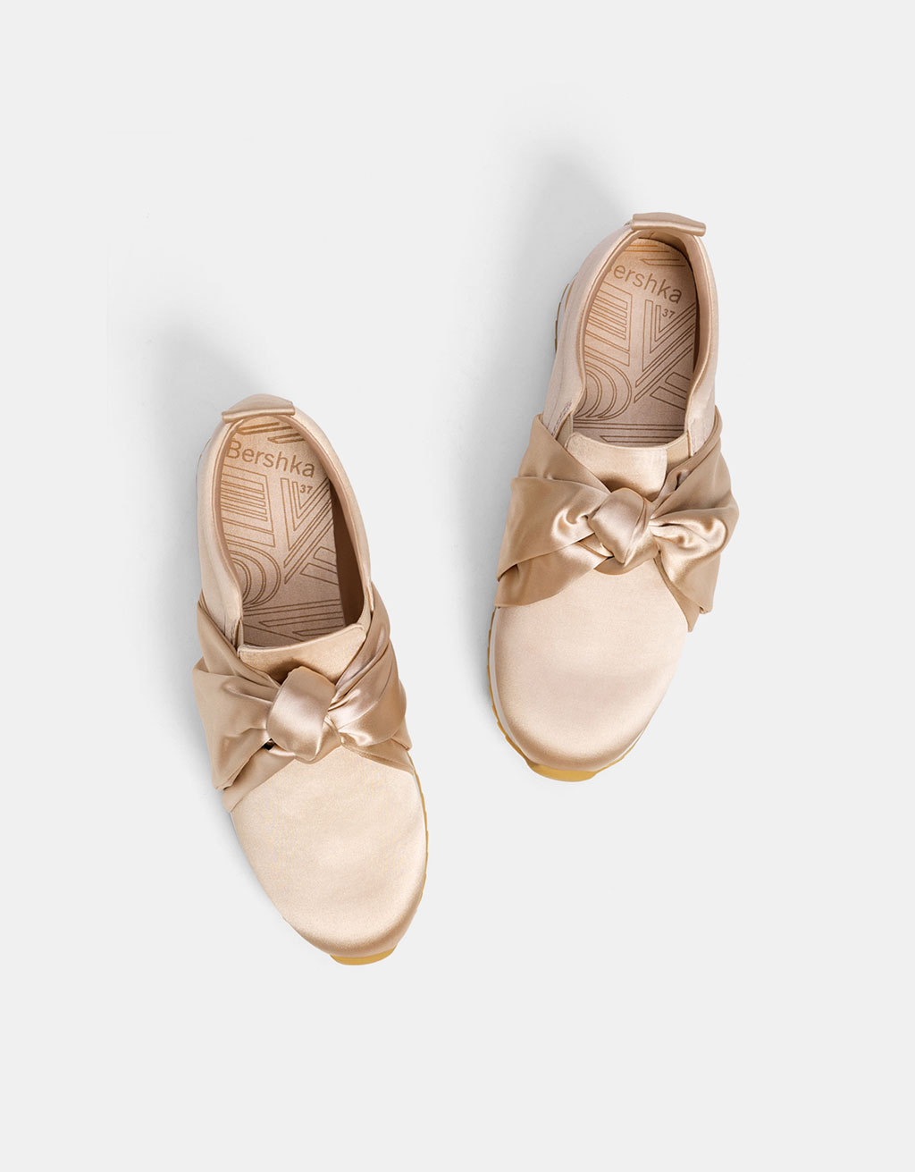 Satin platform sneakers with bows