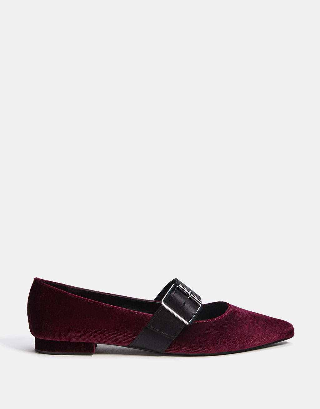 Velvet ballerinas with buckled ankle straps