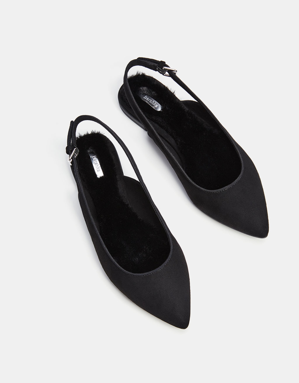 Flat faux fur slingback shoes with pointed toes